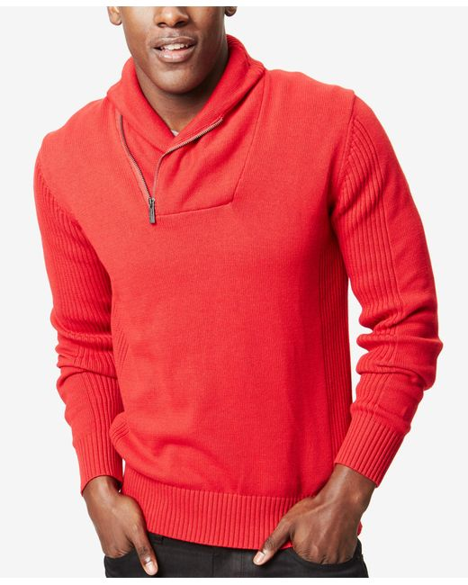 Sean John | Red Men's Zip Shawl Collar Sweater, Only At Macy's for Men | Lyst