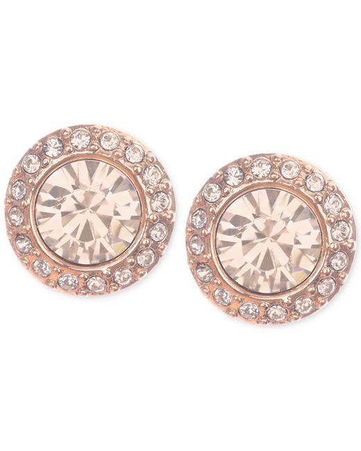 Givenchy | Pink Rose Gold-tone Pavé Button Stud Earrings | Lyst