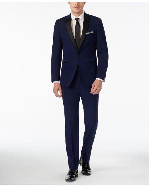 Calvin klein blue with black peak lapel extra slim fit for Extra slim tuxedo shirt