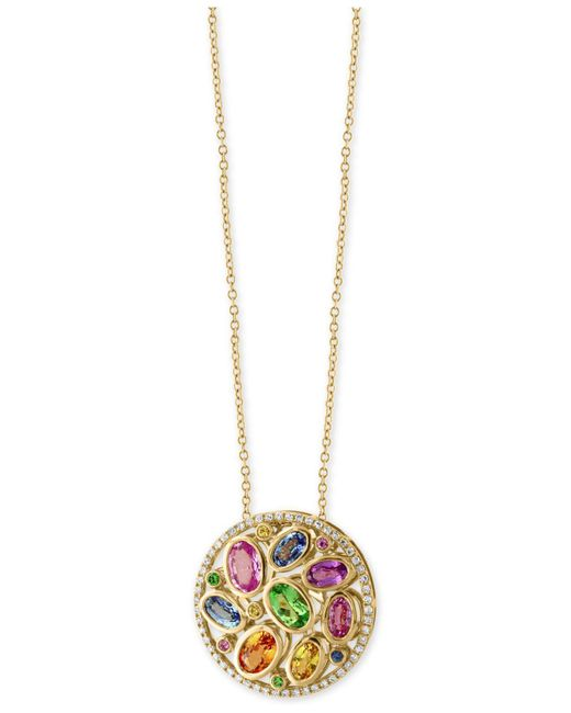 Effy Collection   Metallic Multi-gemstone (3-3/8 Ct. T.w.) And Diamond (1/5 Ct. T.w.) Pendant Necklace In 14k Gold   Lyst