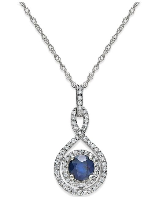 Macy's | Sapphire (3/8 Ct. T.w.) And Diamond (1/4 Ct. T.w.) Pendant Necklace In 14k White Gold | Lyst