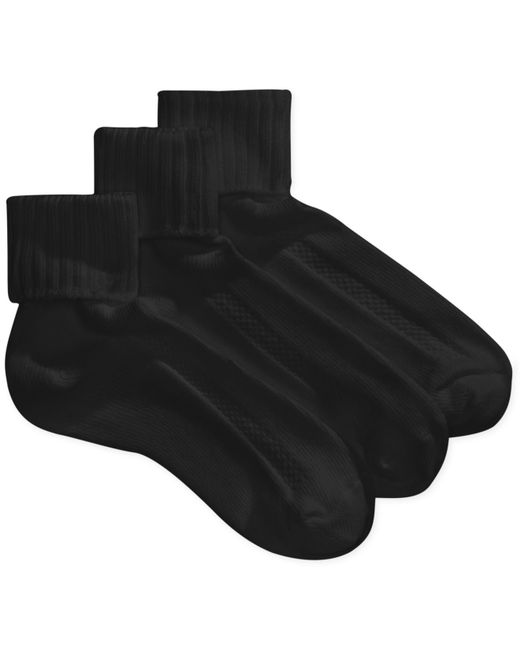 Hue | Black Aircushion Turncuff Socks - 3 Pack | Lyst