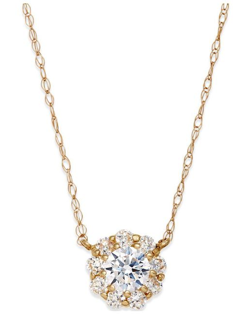 Macy's | Metallic Cubic Zirconia Pendant Necklace In 10k Gold | Lyst