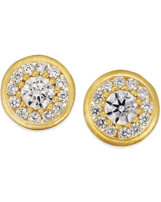 Macy's | Metallic Cubic Zirconia Circle Stud Earrings In 10k Gold | Lyst