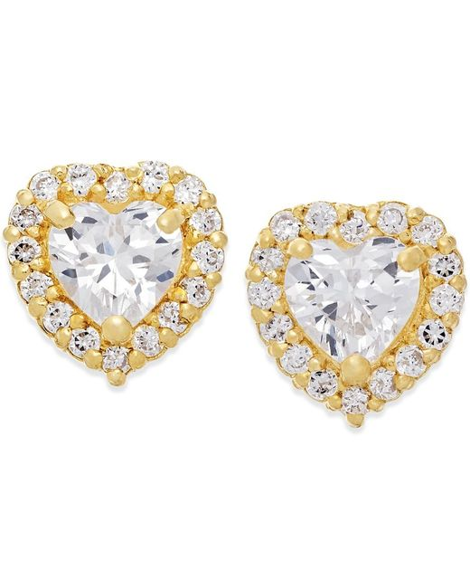 Macy's | Metallic Cubic Zirconia Heart Stud Earrings In 10k Gold | Lyst