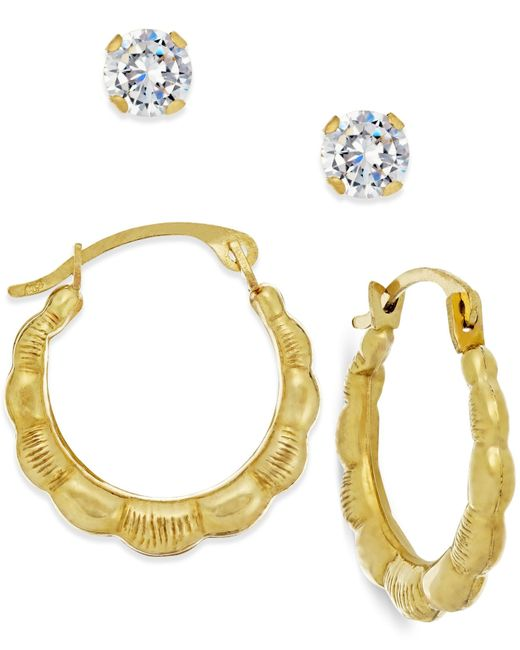 Macy's | Metallic Cubic Zirconia And Ribbed Hoop Earring Set In 10k Gold | Lyst
