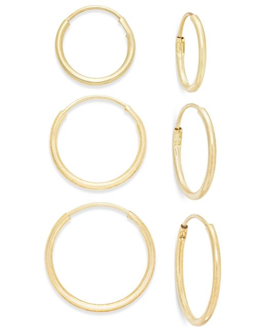 Macy's | Metallic Polished Hoop Earring Set Ion 10k Gold | Lyst