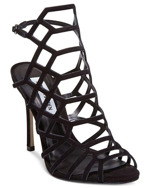 Steve Madden   Black Slithur Leather Caged Heeled Sandals   Lyst