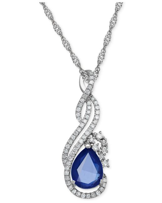 Macy's | Blue Sapphire (1-1/3 Ct. T.w.) And Diamond (1/5 Ct. T.w.) Pendant Necklace In 14k White Gold | Lyst