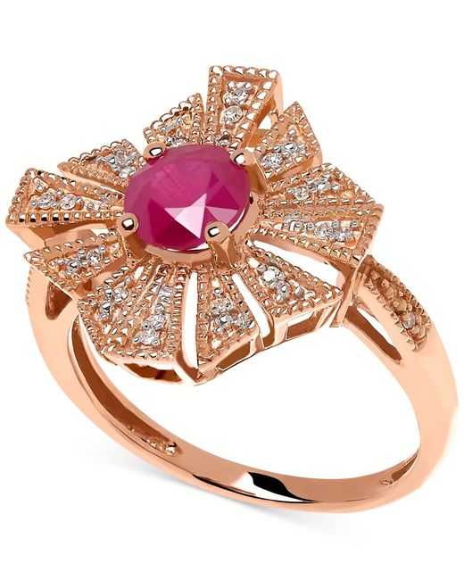 Macy's | Metallic Ruby (1 Ct. T.w.) And Diamond Accent Ring In 14k Rose Gold | Lyst