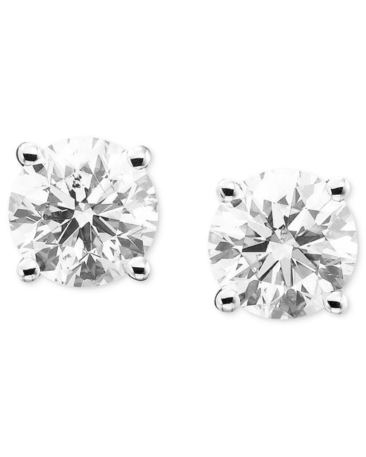 Macy's | Metallic Diamond Stud Earrings (1/5 Ct. T.w.) In 14k White Or Yellow Gold | Lyst