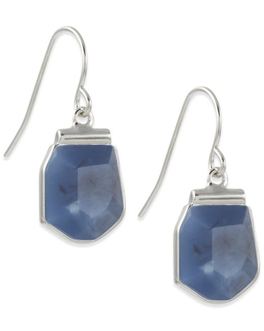 French Connection | Blue Silver-tone Stone Drop Earrings | Lyst