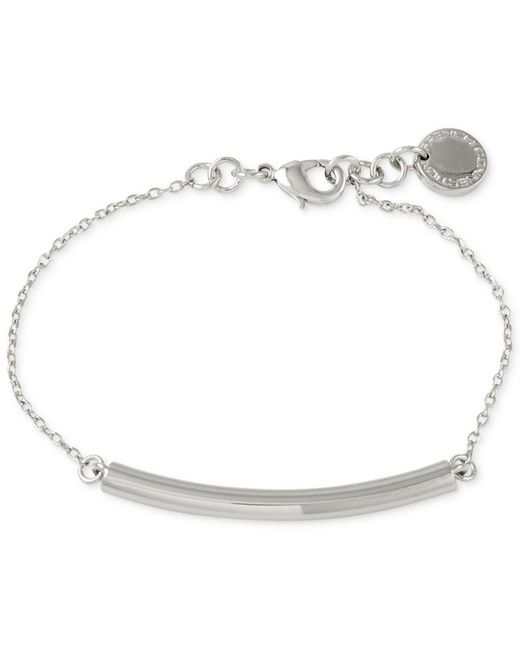 French Connection | Metallic Silver-tone Adjustable Tube Bracelet | Lyst