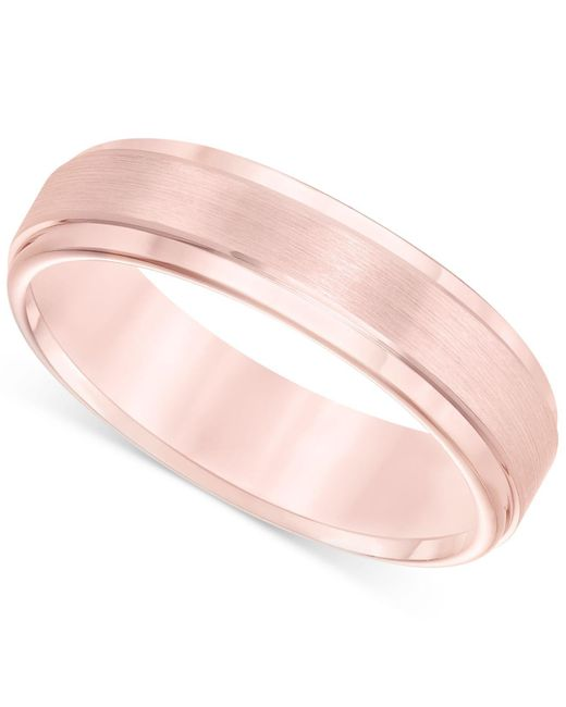Macy's | Pink Satin Comfort-fit Band In Tungsten Carbide (6mm) | Lyst