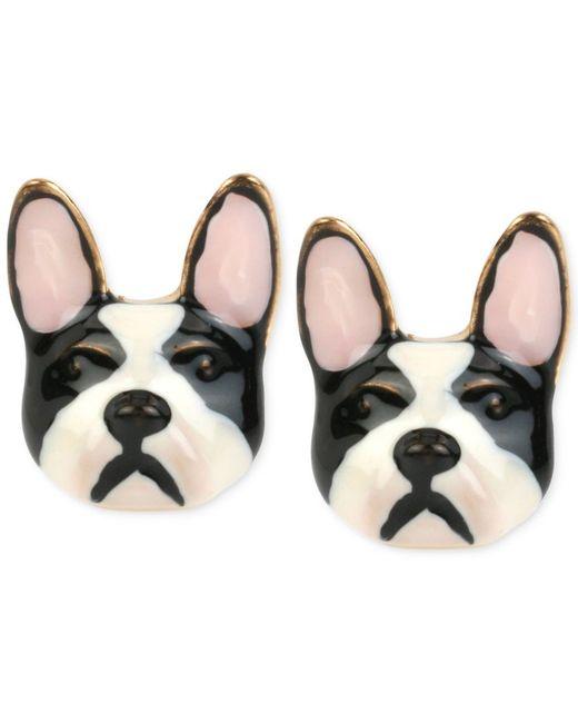 Betsey Johnson | Metallic Gold-tone Bulldog Earrings | Lyst