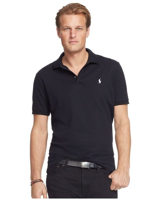 Polo Ralph Lauren | Black Men's Big And Tall Classic-fit Stretch-mesh Polo Shirt for Men | Lyst