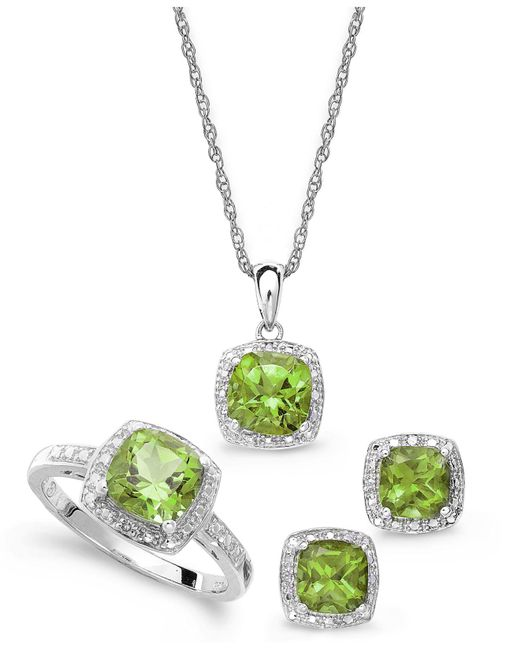 Macy's | Metallic Sterling Silver Jewelry Set, Peridot (4-3/4 Ct. T.w.) And Diamond Accent Necklace, Earrings And Ring Set | Lyst