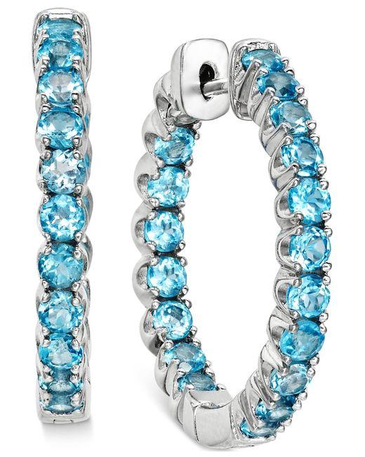 Macy's | Swiss Blue Topaz Inside-out Hoop Earrings (4 Ct. T.w.) In Sterling Silver | Lyst