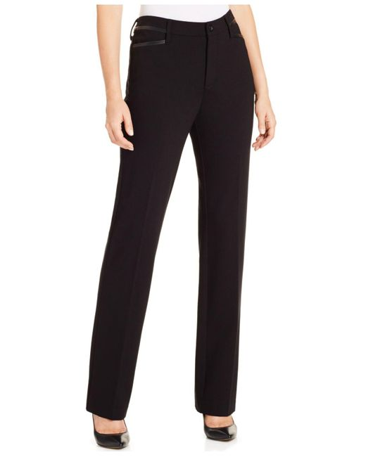 NYDJ | Black Marilyn Tummy-control Straight-leg Ponté Pants | Lyst