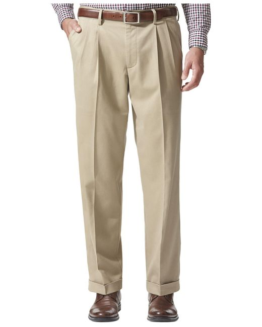 Dockers | Natural Relaxed Fit Comfort Khaki Pants - Pleated-cuffed D4 for Men | Lyst