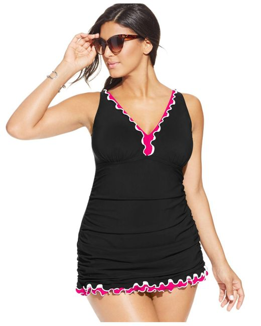 Gottex | Black Plus Size Tummy-control Ruffled One-piece Swimdress | Lyst