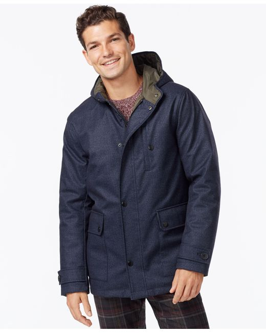 Kenneth Cole | Blue Hooded Jacket With Quilted Lining for Men | Lyst
