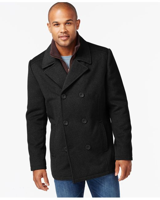 Kenneth Cole | Black Wool-blend Peacoat for Men | Lyst