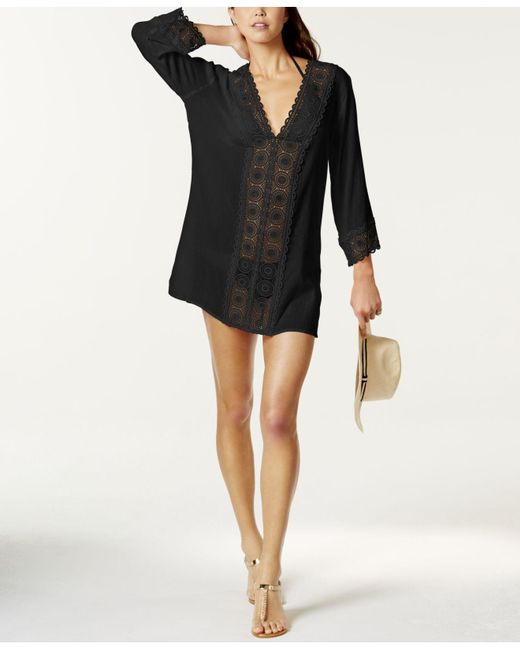 La Blanca | Black Crochet-trim Tunic Cover-up | Lyst