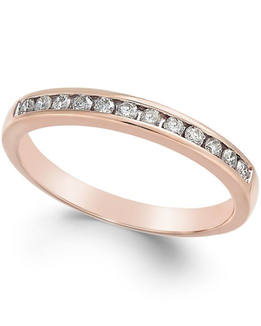 Macy's | Pink Diamond Band (1/5 Ct. T.w.) In 10k Rose Gold | Lyst