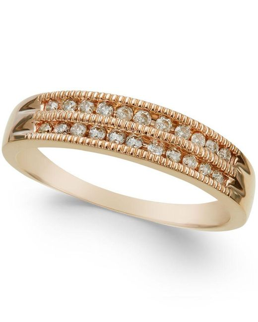 Macy's | Metallic Diamond Two-row Milgrain Band (1/5 Ct. T.w.) In 10k Rose, White, Or Yellow Gold | Lyst