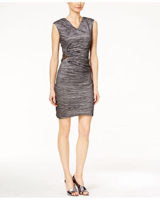Calvin Klein   Gray Textured Side-broach Sheath Dress   Lyst
