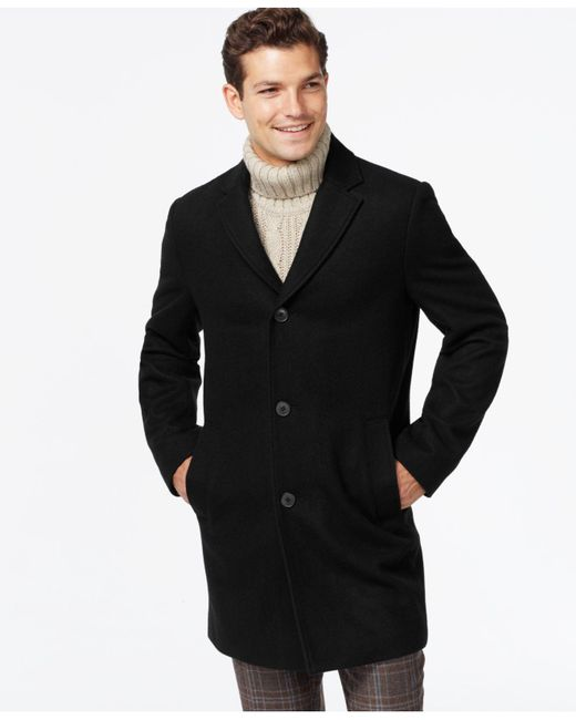 Tommy Hilfiger | Black Melton Notch-collar Coat for Men | Lyst