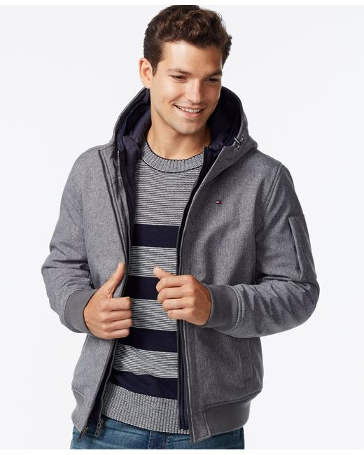 Tommy Hilfiger | Gray Soft-shell Bomber Hooded Jacket for Men | Lyst