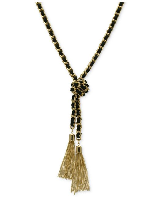 Guess | Metallic Gold-tone And Black Chain Tassel Necklace | Lyst
