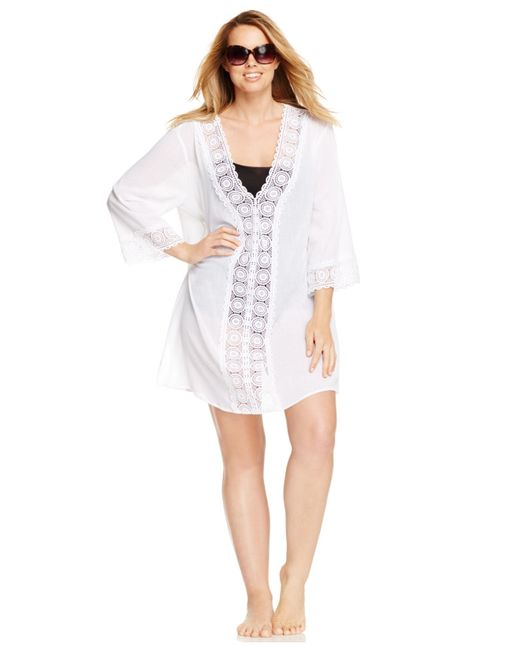 La Blanca | White Plus Size Crochet-trim Tunic Cover-up | Lyst