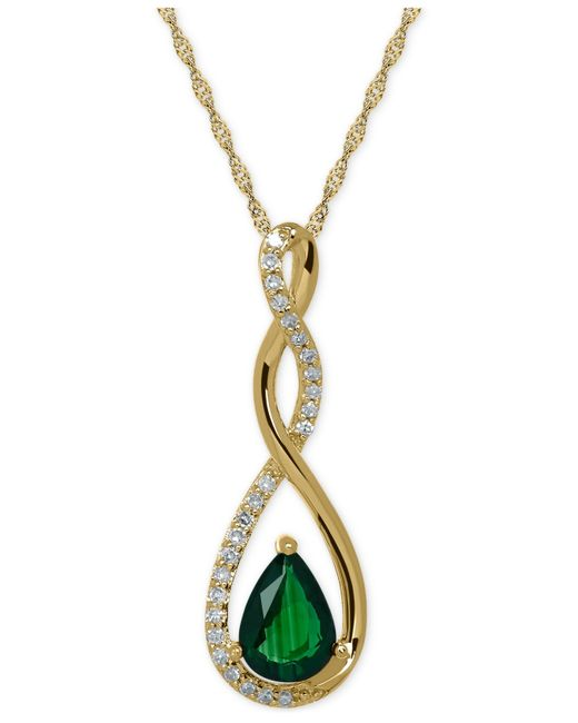 Macy's | Green Birthstone And Diamond (1/10 Ct. T.w.) Pendant Necklace In 14k White Or Yellow Gold | Lyst