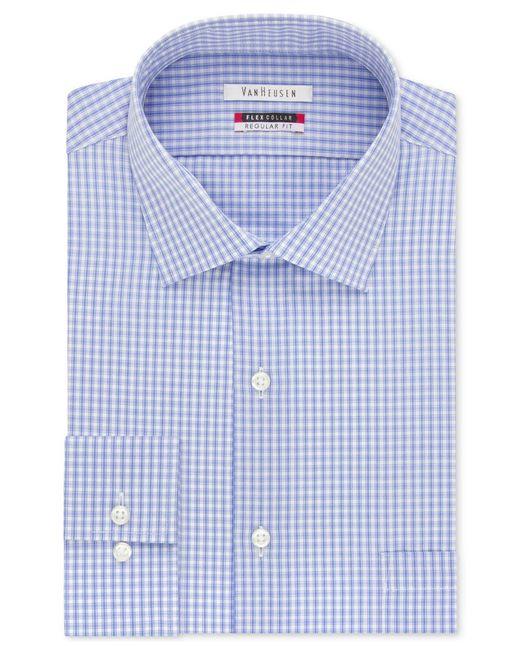 Van heusen checked flex collar dress shirt in blue for men for Van heusen shirts flex collar