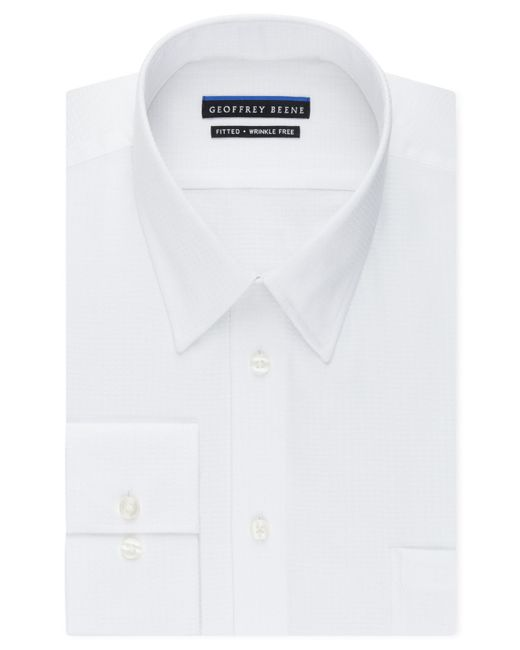 Geoffrey Beene | White Men's Fitted Wrinkle Free Textured Sateen Dress Shirt for Men | Lyst