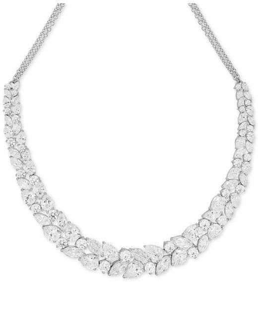 Arabella   Metallic Swarovski Zirconia Crystal Cluster Collar Necklace   Lyst