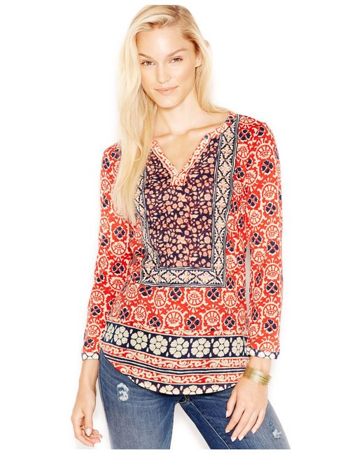 Lucky Brand | Red Mixed-print Top | Lyst