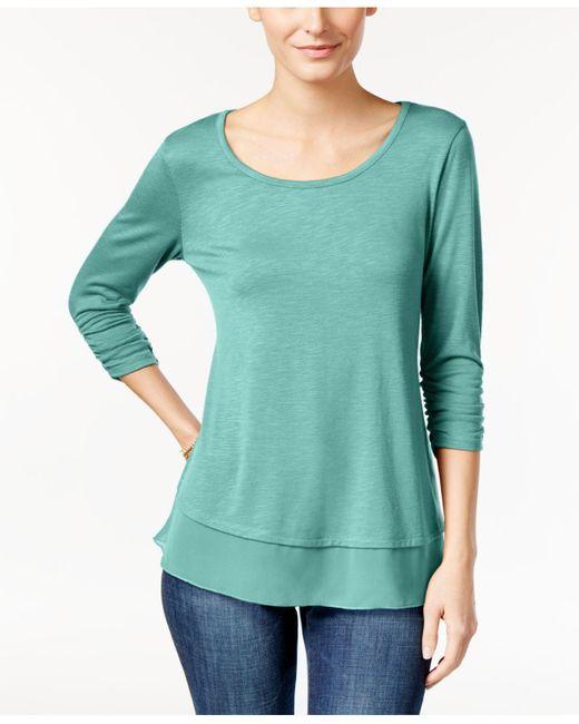 Style & Co. | Green Chiffon-hem Three-quarter-sleeve Top | Lyst