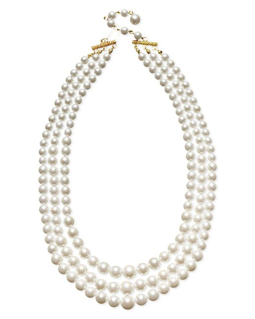 Charter Club - Three Row White Simulated Pearl (10 Mm) - Lyst