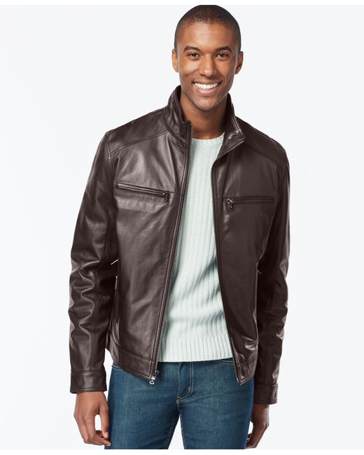 Michael Kors | Brown Michael Men's Big And Tall Leather Jacket for Men | Lyst