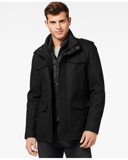 Guess | Black Wool Blend Jacket With Removable Bib for Men | Lyst