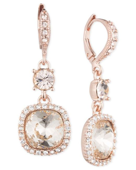 Givenchy | Pink Rose Gold-tone Cushion Double Drop Earrings | Lyst