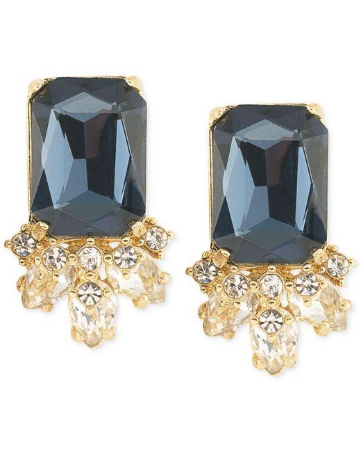 Carolee | Gold-tone Blue Crystal Stud Earrings | Lyst