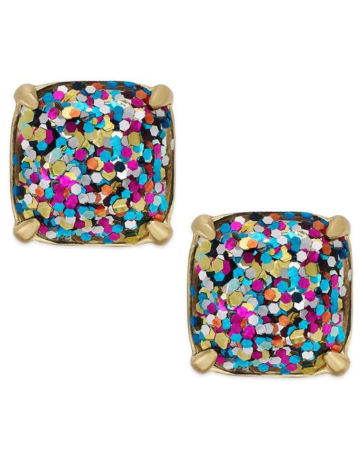 Kate Spade | Metallic Gold-tone Small Square Stud Earrings | Lyst