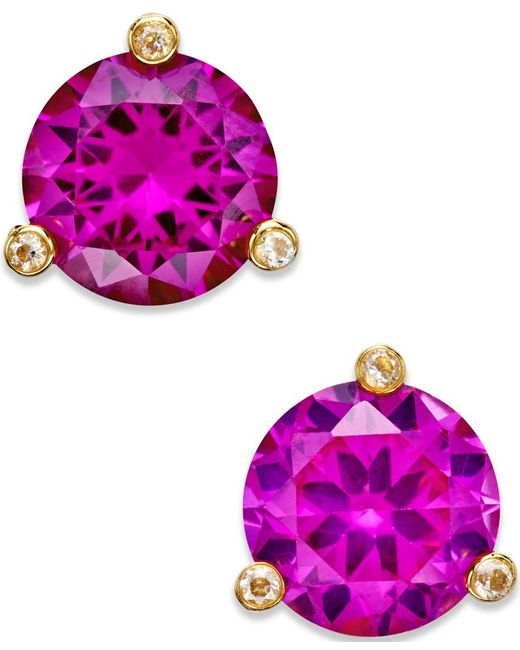 kate spade new york | Purple Gold-tone Mini Round Stud Earrings | Lyst