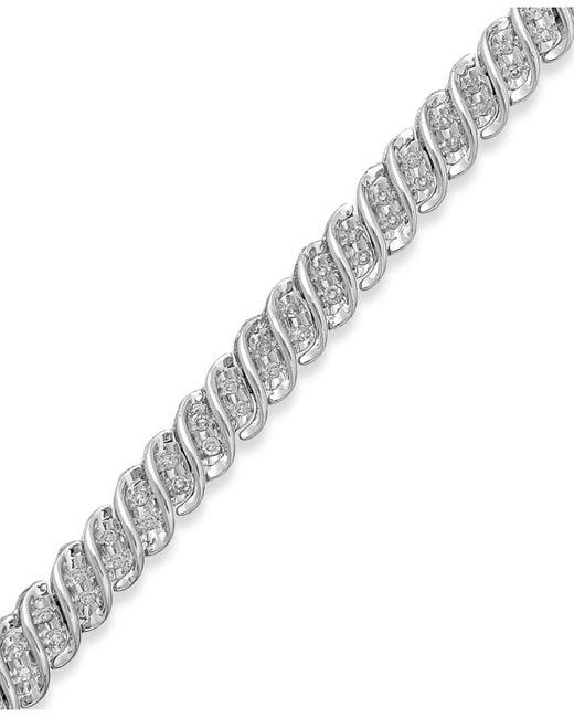 Macy's   Metallic Diamond S-link Bracelet In 10k Gold Or White Gold (1/2 Ct. T.w.)   Lyst