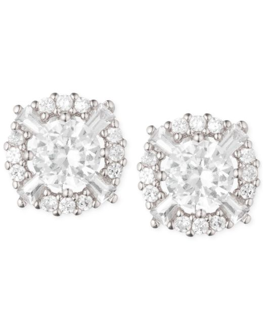 Anne Klein | Metallic Elevated Crystal Round Stud Earrings | Lyst